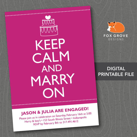 """Свадьба - Printable Engagement Party Invitation """"Keep Calm"""" / Customized Digital File (5x7) / Printing Services Available"""