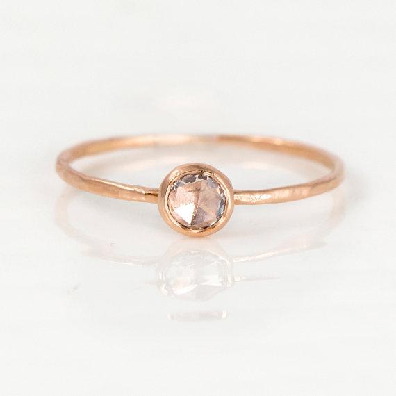 Mariage - Rose Cut Diamond Ring, 14k Rose Gold Stacking Ring, 4mm White Diamond Engagement Ring, Delicate Ring