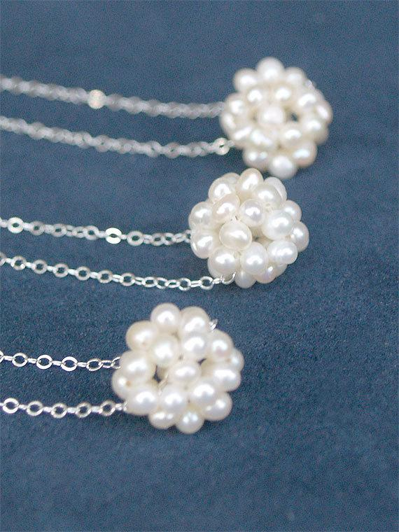 Mariage - 5 Bridesmaid Necklaces - Freshwater Pearl Necklace - Clusters on Sterling or Gold FIlled - Bridesmaids Sets, Bridal, Wedding Jewelry