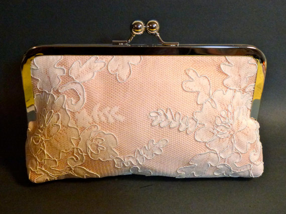 Свадьба - Bridal Clutch Blush Pink Silk with Ivory Lace Overlay romantic victorian wedding