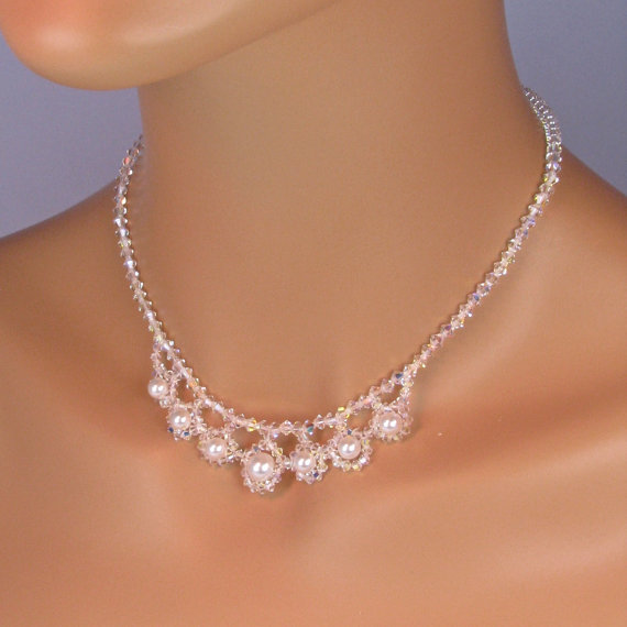 Halo Pearl Bridal Necklace Set Swarovski Crystal And Pearl Bridal Jewelry Set Graduating Pearl