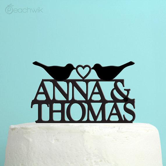 Wedding - Wedding Cake Topper - Personalized Love Birds Cake Topper -  Custom Names Wedding Cake Topper - Peachwik Cake Topper - PT19