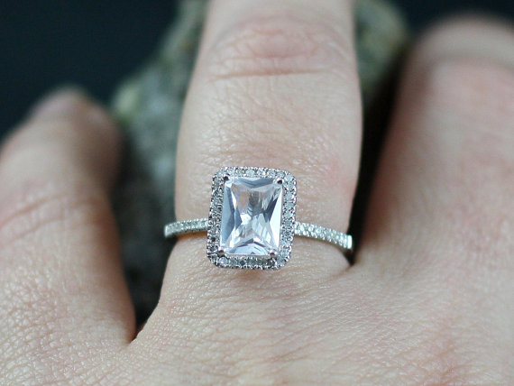 Hochzeit - Engagement Ring Ione Medio White Topaz Emerald cut & Diamonds Halo Engagement Custom Size White-Yellow-Rose Gold-10k-14k-18k-Platinum
