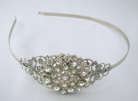 زفاف - Wedding Headband, Crystal Rhinestone Bridal Head Piece, Vintage Style Antique Silver Color Headband, Hair Accessories