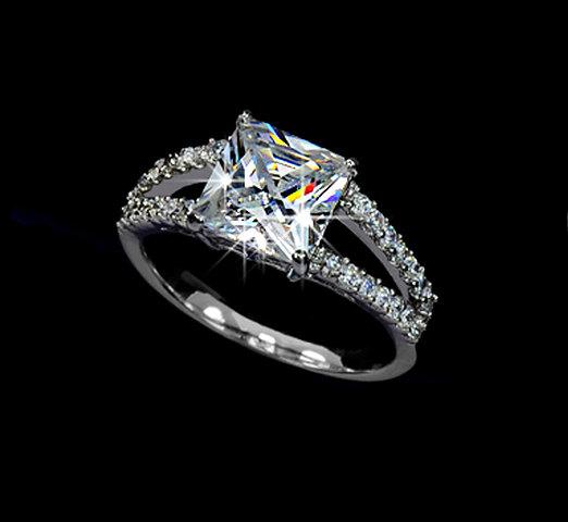 زفاف - 2.25 ct Princess Cut Cubic Zirconia Engagement Ring Two Row Micro Pave Wedding Promise Gift Silver Color Ring Square Stone Ring, AR0009B
