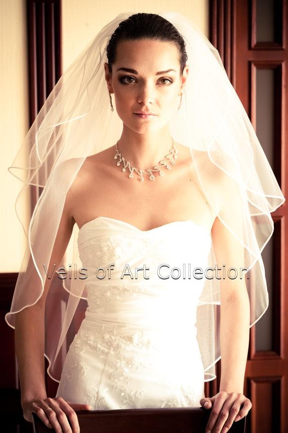 "Hochzeit - 3T Elbow Bridal Wedding Veil 1/8"" Satin Cord Trim VE217 white or  ivory"