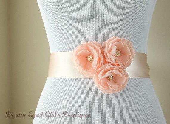 Mariage - Blush Pink, Blush Pink Wedding Sash, Blush Pink Wedding Belt - Blush Pink Chiffon Flowers