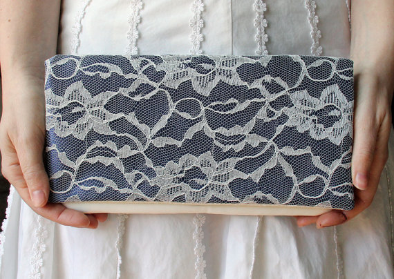 Hochzeit - Blue Wedding Clutch -Navy Satin and Ivory Lace Clutch - LENA clutch -  Bridesmaid Gift Idea