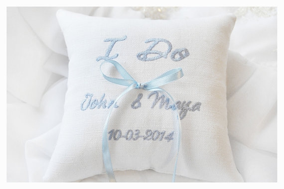 Hochzeit - Wedding ring pillow , ring beare pillow, something blue ,  ring pillow  , personalized wedding pillow (R35)