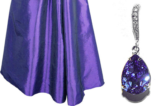 زفاف - Wedding Tanzanite Earrings, Bridesmaid Violet Rhinestone Earrings, Swarovski Tanzanite, Sterling Silver CZ Tanzanite Wedding Jewelry