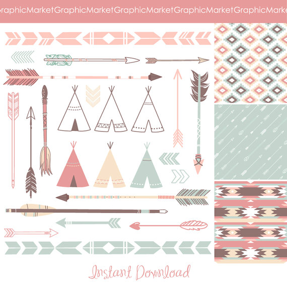 Wedding - Arrows, Teepee Tents and tribal digital papers - Indian Clip art for scrapbooking, wedding invitations, Personal and Small Commercial Use.