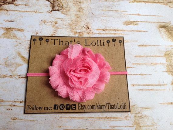 Wedding - American Girl Doll size Bubblegum Pink shabby flower headband birthday party favor Easter wedding goodie bag chevron thin elastic chiffon gi