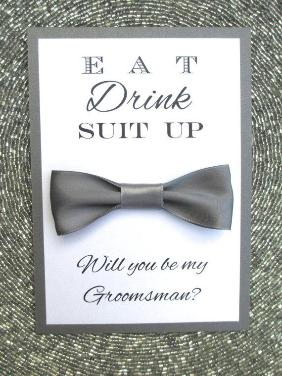 Hochzeit - Will You Be My Groomsman card, Bow Tie, Bridal Party