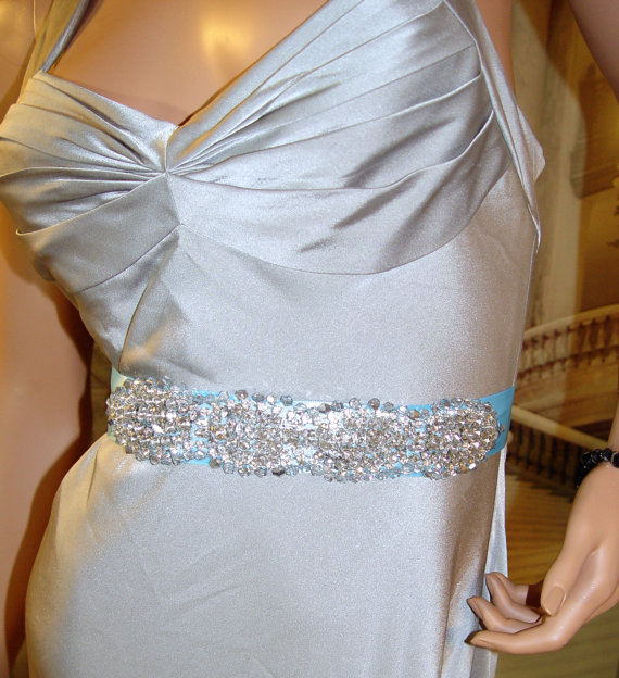 Blue Rhinestone And Swarovski Crystal Wedding Bridal Sash, Bridal ...