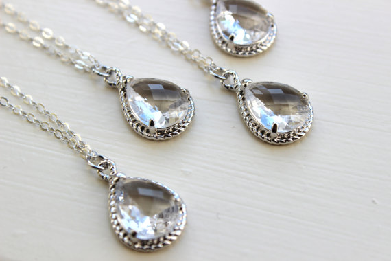 Wedding - 10% OFF SET OF 2 Crystal Clear Necklace Silver Wedding Jewelry - Set of 2 Necklaces Bridesmaid Gift Bridesmaid Jewelry Silver Bridal Jewelry