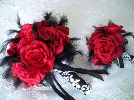 Wedding - Red Silk Rose Damask Bridal Bouquet Set
