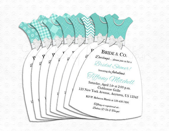 Wedding - Bridal Shower Tiffany & Co. Inspired Dress Invitations-  BASIC - 8 choices-Set of 25 with Envelopes - PRINTED