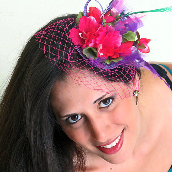 زفاف - Fascinator -  Pink Purple Fascinator  Veil Flower Fascinator STAVVY PURPLE PINK