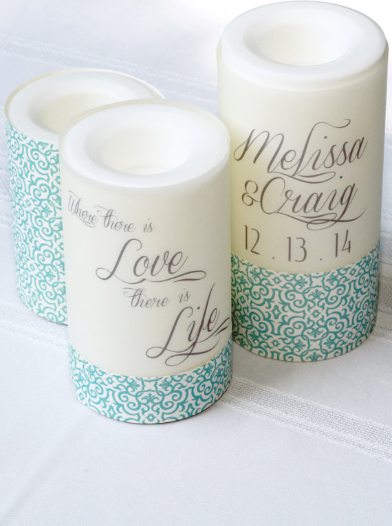 Custom Candle Wraps Candle Centerpieces Alternative Centerpiece Wedding Reception Table
