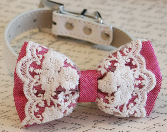 زفاف - Hot Pink Dog Bow Tie,Pet  Accessory, Wedding accessory, Dog Birthday gift, Lace bow, Victorian, Dog Lovers