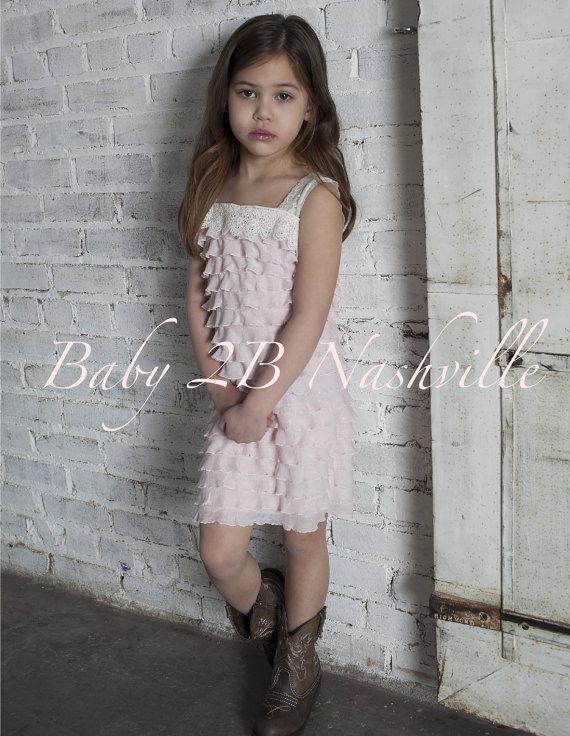 Wedding - Rustic Wedding Pink Ruffle Dress Flower Girl Dress Romantic Wedding Flower Girl Dress