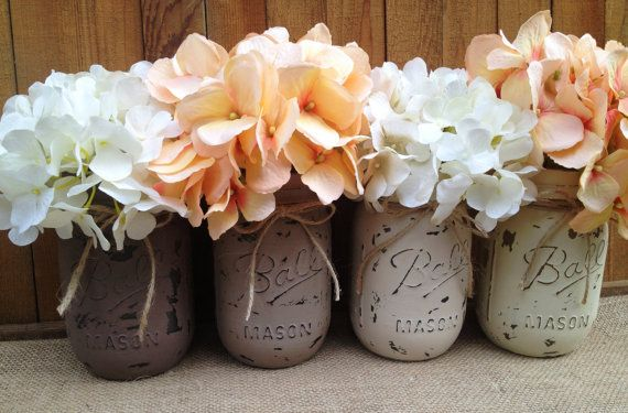 pint painted mason jarsvintagerustic home decorwedding centerpieces shabby chic painted mason jarsfrench countrybaby bridal shower