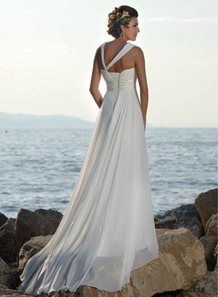 زفاف - New Halter Straps Handmade Flower Chiffon Beach White Greece Style Wedding White