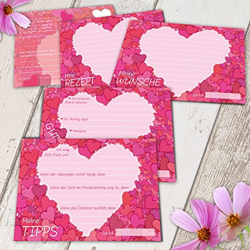 Wedding - 52 Postkarten Hochzeit - PORTOFREI möglich, inkl. Hochzeitsbuch GRATIS - Postkarten Set Hochzeit mit 52 Karten zur Hochzeit. Hochzeitsspiele mit Karten für Gäste und Brautpaar. 52 Wochenkarten mit Motiv Herz