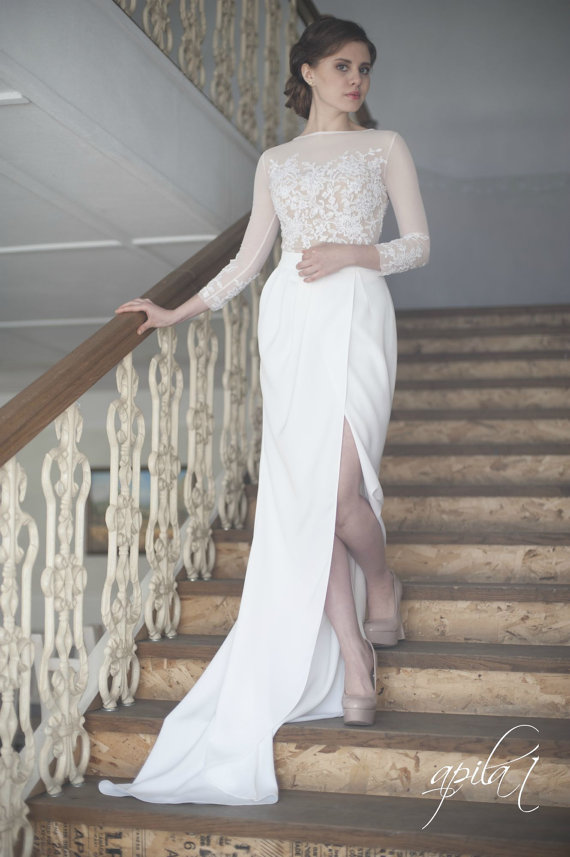 Hochzeit - Long Wedding Dress, White and Nude Wedding Dress, Crepe and Lace Dress L10
