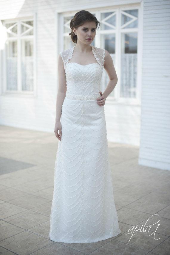 زفاف - Lace Long Wedding Dress, Long Ivory Wedding Dress, Satin and Lace Wedding Dress , Bridal Dress with Pearls L6