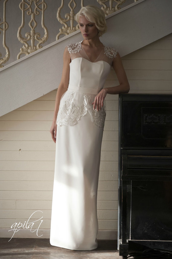 Свадьба - Long Wedding Dress, Ivory Wedding Dress, Crepe and Lace Dress L3(with long and short skirts)