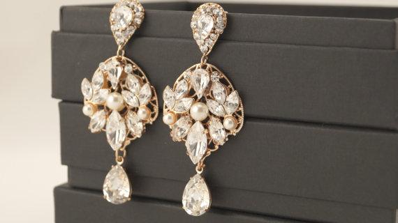 Bridal Earrings Rose Gold Dangle EarringsWedding EarringsRose