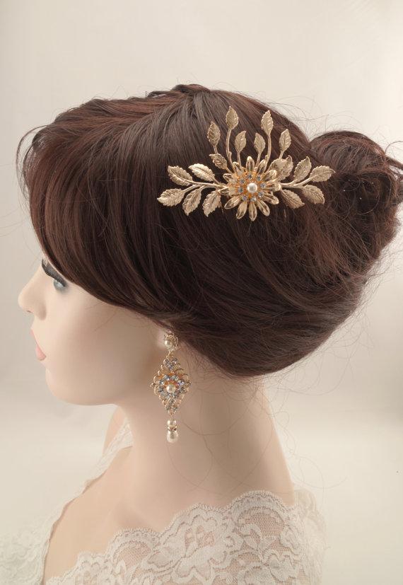 Boda - Wedding hair comb-Rose gold vintage inspired swarovski crystal bridal hair comb-Bridal accessories-Bridal headpiece-Leaf wedding comb