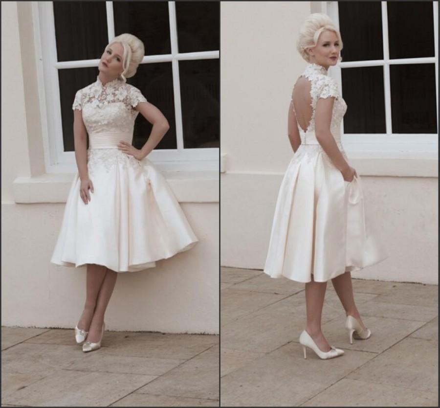 2015 short house of mooshki weddding dresses beach lace for Knee length beach wedding dresses