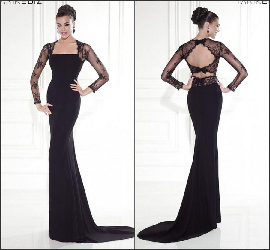 2017 Long Sleeve Backless Mermaid Evening Dresses Black Bow Tarik Ediz Lace Winter Party Red Carpet Prom Gowns Formal Sweep 106 43