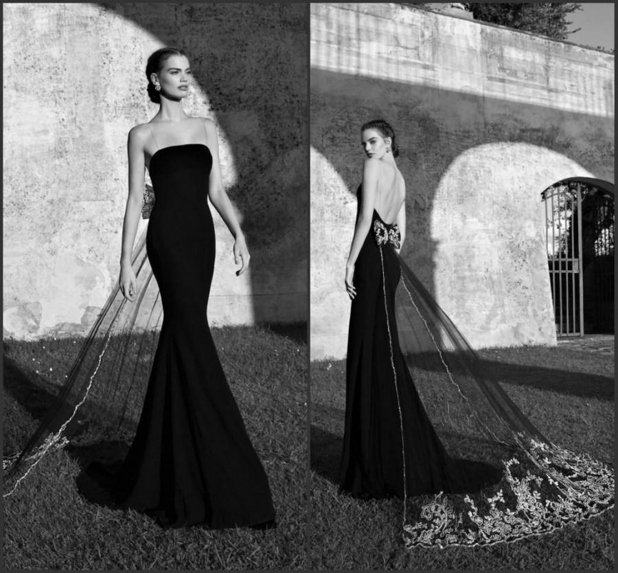 Mariage - Black Spaghetti Mermaid Evening Dresses 2015 Tarik Ediz Applique Backless Long Party Dresses Red Carpet Custom Prom Gowns Formal For Woman, $112.88
