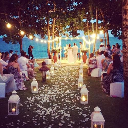 Beautiful Outdoor Nighttime Wedding With Lanterns And Twinkle Lights
