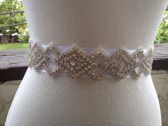 Mariage - Bridal Wedding Belt Sash,Bridal Sash,Best seller sash ,Rhinestone Crystal Sash,Swarovski beaded sash,Silver Sash