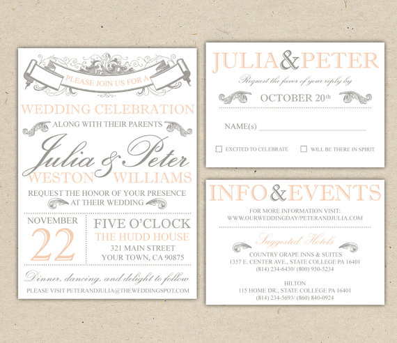 vintage modern wedding invitation and rsvp template diy 1053 sample - Wedding Invitation Rsvp Wording