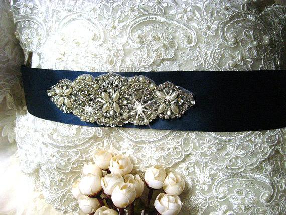 Mariage - rhinestone beaded bridal sash, crystal bridal sash, navy blue wedding sash, bridal belt, wedding belt, CHLOE rhinestone beaded bridal sash