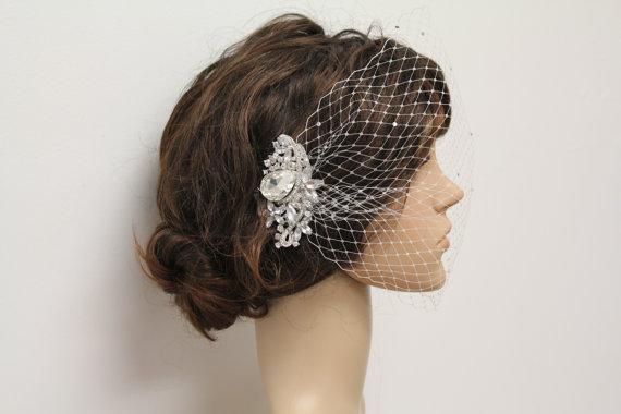 Wedding - Bridal birdcage veil ivory bridal fascinators veil wedding birdacage veils wedding fascinator veil bridal hair comb wedding accessories