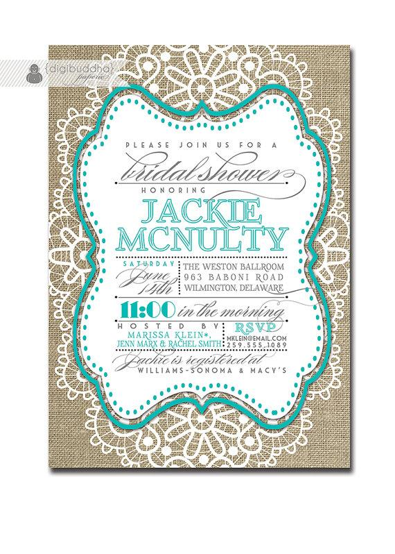 Wedding - Lace Bridal Shower Invitation Linen Burlap Tiffany Blue Wedding Invite Teal Aqua FREE PRIORITY SHIPPING or DiY Printable - Jackie