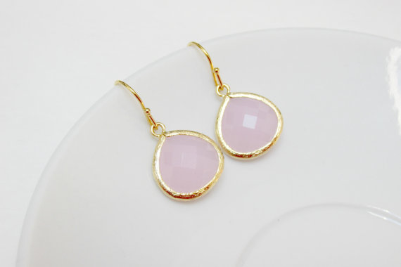 Pale Pink Earrings Gold Drop Bridesmaids Wedding Jewelry Baby Teardrop