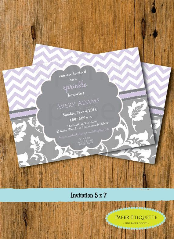Hochzeit - Lavender and Gray Floral & Chevron Sprinkle, Baby Shower or Wedding Shower  Invitation - Print Your Own