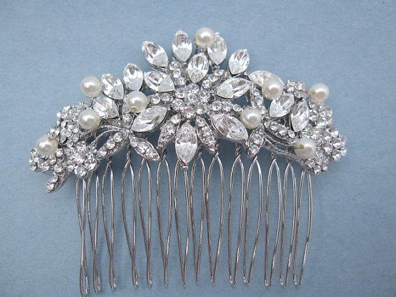Hochzeit - bridal hair comb,bridal hair piece,crystal and pearl wedding hair comb,wedding hair accessories,bridal accessories,pearl wedding comb,bridal