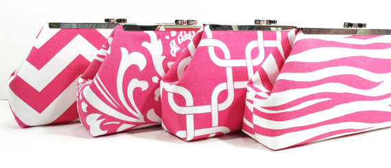 Hochzeit - Bridesmaid Clutches Bridal Party Purses Wedding Clutch Choose Your Fabric Pink Set of 5