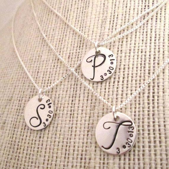 Mariage - Bridesmaid Jewelry - Bridesmaid Necklaces - Set of 3 - Bridesmaid Initial Necklace - Monogram Necklace