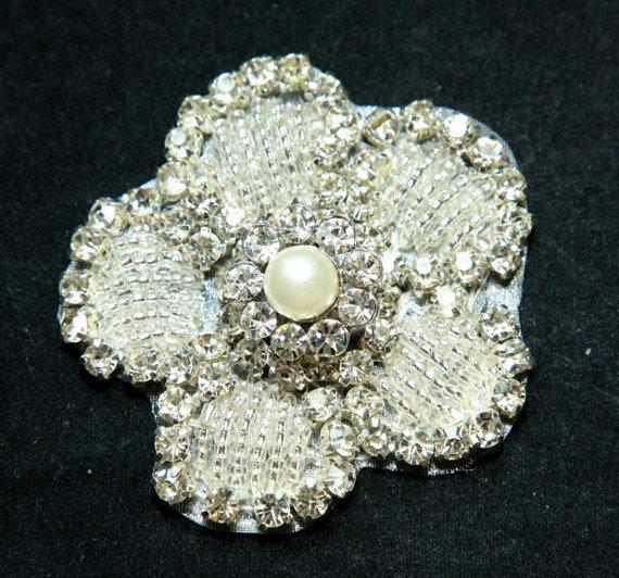 Mariage - Bouquet wrap applique, Dress applique, Wedding applique, Rhinestone applique, Pearl sash,Floral applique,Clutch applique,Bridal decoration