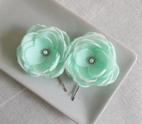 Wedding Gift Flowers: Mint Fabric Flower In Handmade, Bridal Accessory