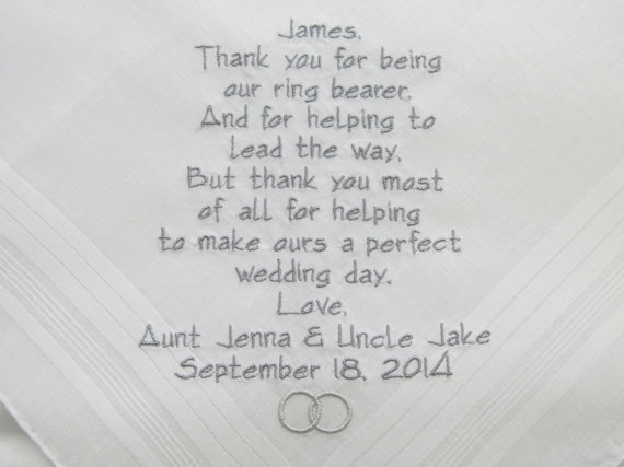 Wedding Gifts For Ring Bearer : WEDDING gift for RING BEARER Embroidered Wedding Handkerchiefs gifts ...